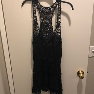 Black laced bathing suit cover-up